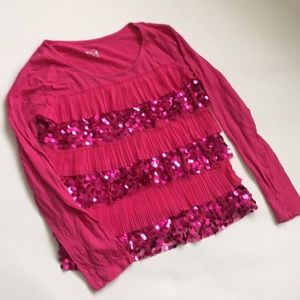 Justice Pink Sequin Ruffle Top